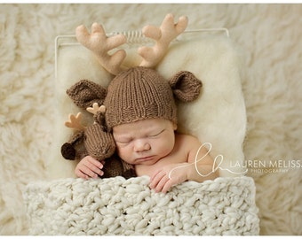 Baby Buck Deer Hat and Lovie,Stuffie Lovey, Deer Hat, Knit Infant Photo Prop, Newborn, Custom Antler Colors, Deer Hunter Reindeer Moose Elk