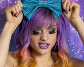 Medium Turquoise Mermaid Scale Hair Bow