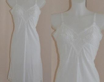 Vintage Slip, Vintage Full Slip, A Fantasy Creation, White Full Slip, Size 40, White Slip, Wedding, Vintage Lingerie