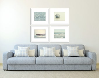 beach photography set coastal decor ocean photograph blue wall art nautical seashore print set of four discounted picture set