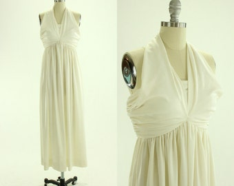 1970's White Halter Maxi Dress S M Ole Borden Marilyn Monroe