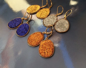 Sale Handmade Druzy gold earrings. Silver, yellow, blue, orange-choose your color