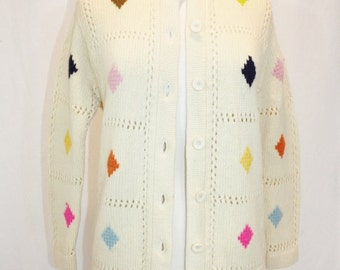 1970's Ivory Cardigan Sweater Wool Diamonds ARgyle Small-Medium Multicolored Hipster Funky Knitted