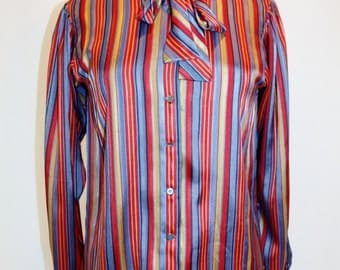 1970's Evan Picone Striped Blouse Sateen Bow Tie Small Medium Vintage REtro 70s Silk Like Blue REd Gold Office Hipster