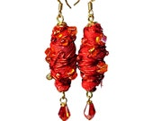 Artsy Red Dangle Earrings, Wire Wrapped,  Fiber, Fabric, Jewelry Art, Handmade Artisan, Upcycled
