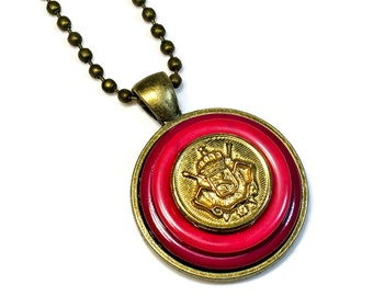 Upcycled Vintage Button, Red Necklace Pendant, Button Pendant Necklaces, Repurposed Button Jewelry, Handmade Gifts