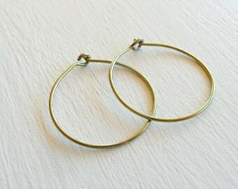 Gold Niobium Hoop for Sensitive Ears, Medium Nickel Free Hoops, Hypoallergenic Hoop Earrings, Yellow Gold Anodized Niobium Hoops Earing