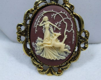 Vintage Cameo Pendant Mythological Goddess Diana The Huntress & Deer Cameos Cream over Brown Reproduction