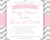 Tutu Cute Baby Shower Invite -  DIY Digital, Printable Party INVITATION - 4x6 or 5x7