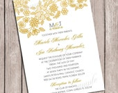 Gold Lace Wedding Invitation -  DIY Digital, Printable Party INVITATION - 4x6 or 5x7