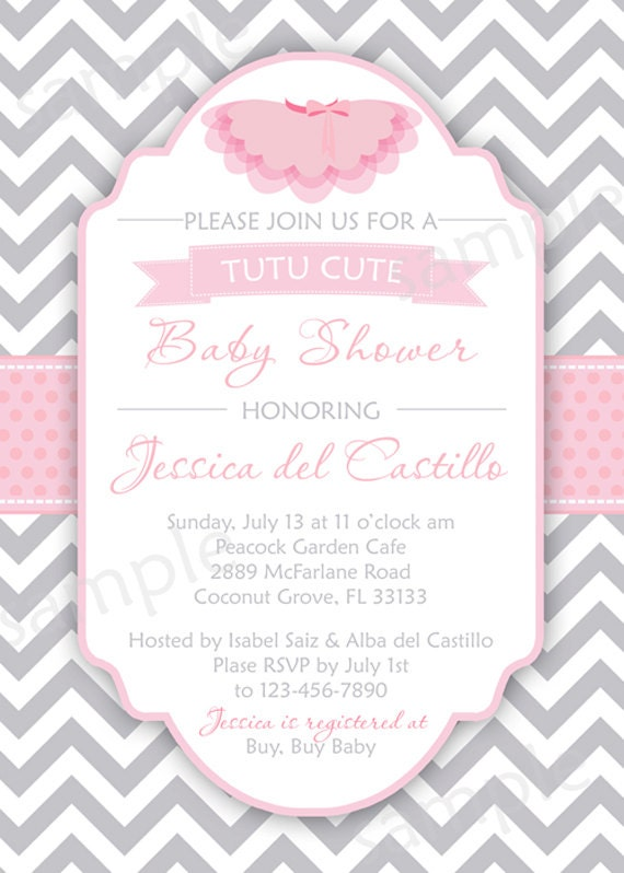 tutu cute baby shower invite diy digital by modpoddesigns