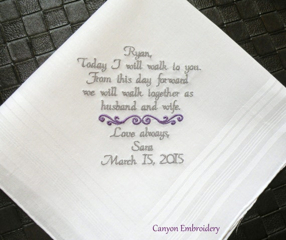 Gift For Fiance On Wedding Day: Fiance Gift Embroidered Wedding Handkerchief YOUR Own