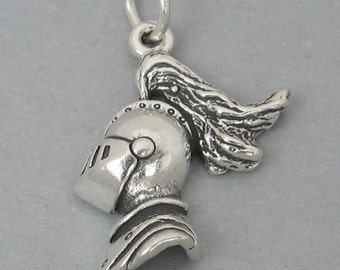 Sterling Silver 925 Charm Pendant KNIGHT In ARMOR HEAD 877