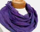 Long Cotton Gauze Scarf, Head Scarf, Hand Dyed Scarf in Blue Violet, Raw Edges, One of a Kind