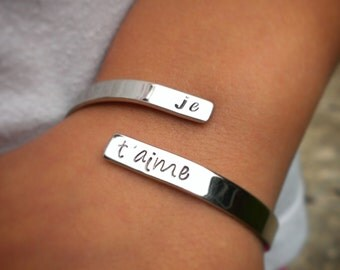 Je t'aime Cuff Bracelet . French I Love You Bracelet . Hand Stamped Love Romantic Jewelry