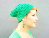 Green Slouchy Beanie, Hand Knitted Beanie Hat, Bright Spring Beanie, Geometric Fashion Accessory, Womens Beanie, Cabled Hat - Kelly Green