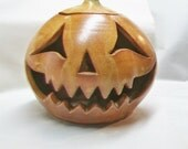 Halloween Pumpkin Decoration, Luminary - Candle holder, Tea Light - Jack o lantern -Handmade on the Potters Wheel