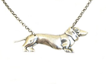 Dachshund Necklace- Doxie Necklace- Dog Necklace- Sterling Silver Ox Finish