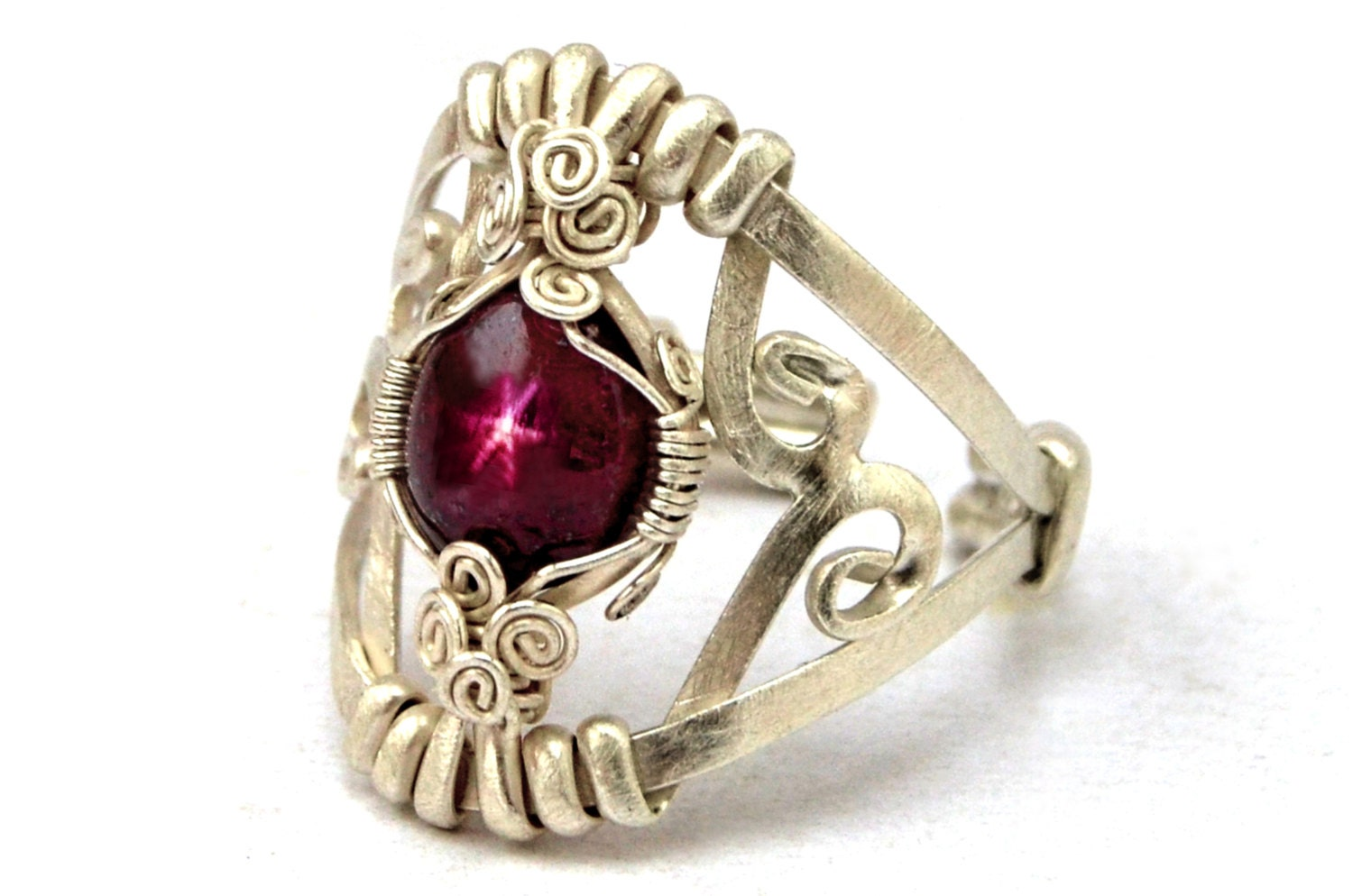 Unusual Ruby Wedding Gifts: Ruby Ring Wire Wrapped Ring Sterling Silver Ring Star Ruby