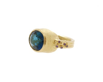 Royal Blue Topaz Cocktail Ring