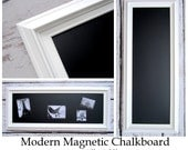 """WHITE FRAMED Chalkboard Long and Narrow Kitchen Chalkboard 41""""x18"""" Magnetic Chalk board Wood Chalkboard for Home Office Organizer"""