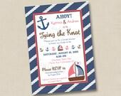 Nautical Tying the Knot Custom Bridal Shower or Baby Shower Invitation Design