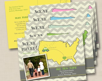 We've Moved Announcement Custom Photo Postcard with Map - double sided design