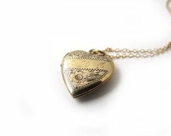 SALE-Vintage 12k Gold Filled on Sterling Sweetheart Locket With Engraved Initials EDA c.1940s