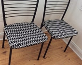 Vintage Metal Cafe Chairs Seats, Mid Century Mod, Set  Refurbished, Cosco 1950s, MCM, Atomic Metal chairs, card table chairs, Eames Era
