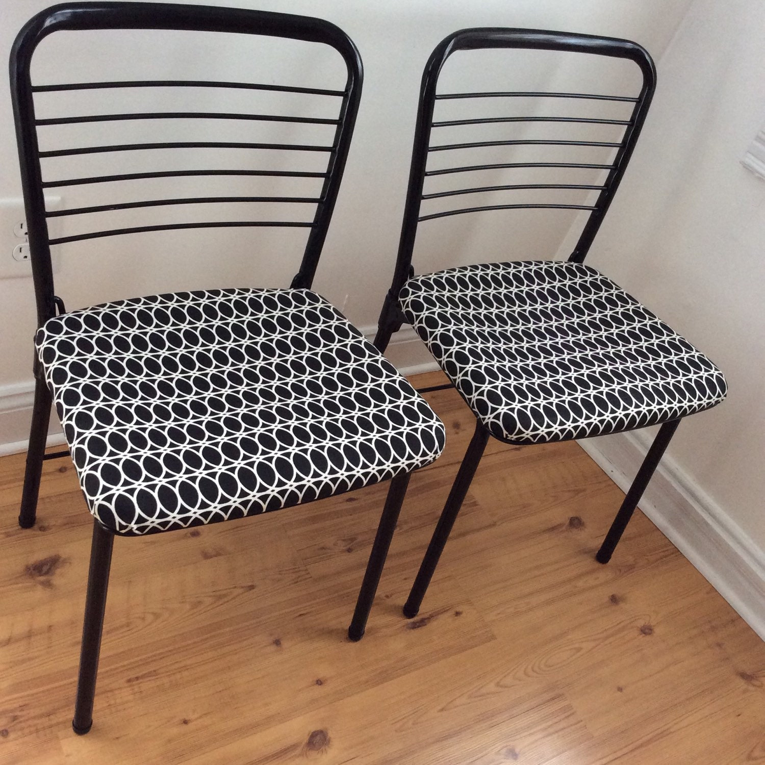Mid Century Mod Chair Set Cosco Fashionfold Geometric Upholstered Chairs Fo
