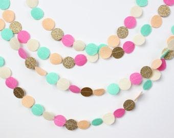 READY TO SHIP Felt and Glitter Circle Garland: petal, mint, blush, cream, gold glitter