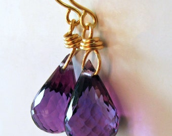 14k Solid Gold Purple Amethyst Earrings - Available in 14k White or Yellow Gold