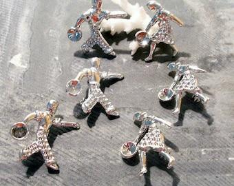 Bowler Pins VINTAGE Bowler Pin Brooch Blanks Guy Gal BOWLERS Six (6) Silver Pin Blanks Rockabilly 50s Jewelry Making Supplies Destash (M71)