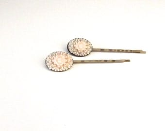 Blush Flower Bobby Pins, Oval Hairpins