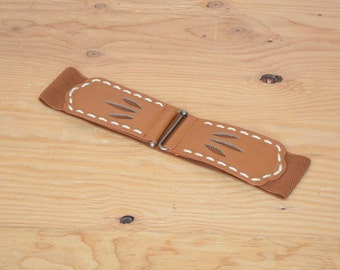 Vintage 90's Belt Brown Stretch Elastic Western Detail