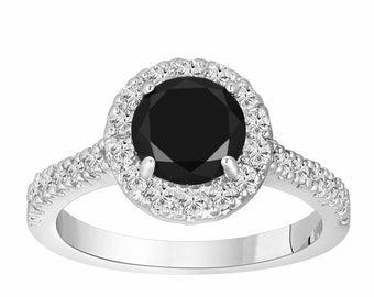 Fancy Black Diamonds Engagement Ring 1.68 Carat 14K White Gold Halo Handmade