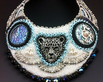 Silver Panther - Large Statement Collar Necklace, Bead Embroidered, Uptown Tribal
