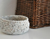 Small Oatmeal Basket  Catchall Storage Bin Cream Modern Decor Rustic Design Fruit Basket Dorm Decor Back to School