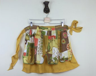 vintage double-sided cotton Half Apron - for baking Cookies & Sweet Treats - mustard brown burnt orange + avocado green, bamboo, houseplants