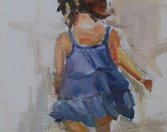 Children's Portrait, Child on Beach, Girl on Beach, Figurative Painting, Back view of little girl, Oil sketch, Original oil, child portrait