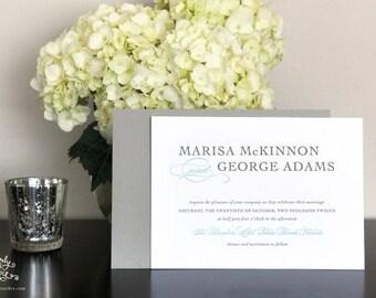 "INVITATION SAMPLE Grey and Aqua ""Harmony""  Letterpress Wedding Invitation Sample Set - Heirloom Wedding Invitations by Sincerely, Jackie"