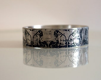 Love Pugs Repeat Graffiti Etch Sterling Silver Bangle - Handmade
