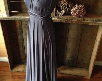 Glacier Dark Gray Satin- Octopus Convertible Infinity Wrap Long Maxi Dress