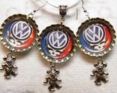 Grateful Dead Earrings, Sterling Silver Red White Blue, VW Bus Skull Jewelry, Deadhead Hippy Jewelry, Dancing Bears Grateful Dead Jewelry #7
