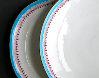 Two Minton Transferware Serving Dishes - Turquoise Gilt Filigree Border - English Vegetable Bowl Plate c  1880 Dinnerware