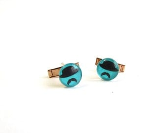 mustache man cufflinks . turquoise & black glass man in a hat cuff links with moustache on vintage brass