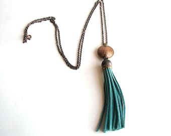 turquoise tassel & coin necklace . long necklace . boho relic jewelry . coin necklace . fringe necklace