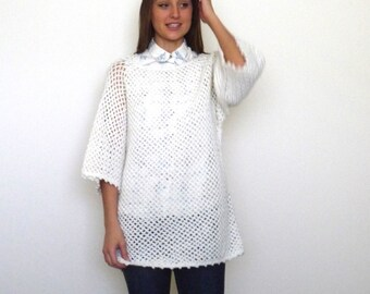 80s Winter White Longline Chunky Open Knit Sweater Tunic xs s m