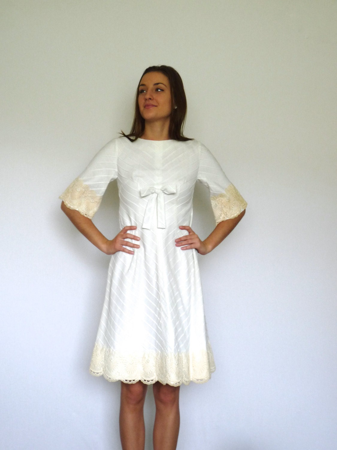 60s white chevron lace bell sleeve a line bridal bow dress for Bell sleeve wedding dress