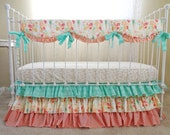 Reminisce Bumperless Crib Bedding, Mint Peach Floral Baby Bedding Set for a Stunning Bumperless Baby Girl Nursery with Custom Crib Pieces